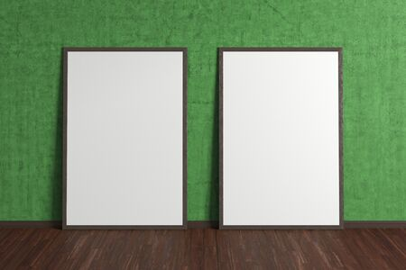 Two blank interior posters mock up with wooden frame in green interior of living room. 3D illustration. 스톡 콘텐츠