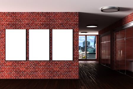 Three blank  horizontal posters mock up on the red brick wall in modern office interior. 3d illustration