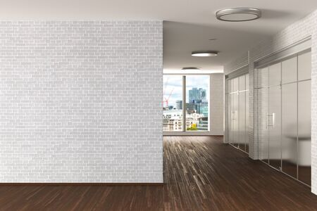 Modern office interior with blank white brick wall mock up. 3d illustration