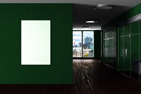 Blank vertical poster mock up on the wall in green modern office interior. 3d illustration