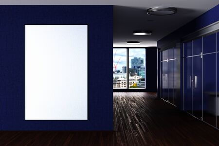 Blank large vertical poster mock up on the blue wall in modern office interior. 3d illustration
