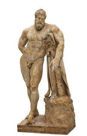 Statue of Heracles, Farnese Hercules. Roman marble statue, copy of original by Lysippos. Фото со стока