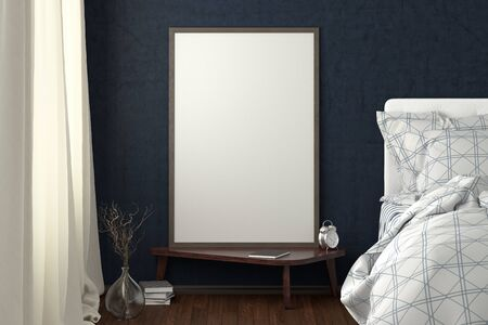Vertical poster mock up on the night table in bedroom with blue wall. 3d illustration. Stockfoto