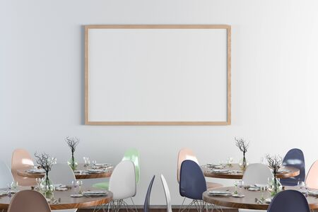Cafe or restaurant interior with blank horizontal poster on the white wall. Front view. 3d illustration.