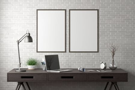 Workspace with two vertical poster mock ups on white brick wall. Desk with drawers in interior of the studio or at home. 3d illustration. Stockfoto