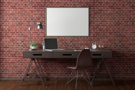 Workspace with horizontal poster mock up on red brick wall. Desk with drawers in interior of the studio or at home. 3d illustration. Stockfoto