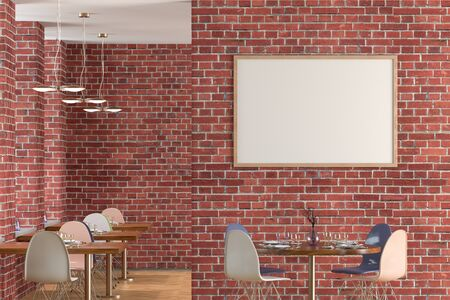 Cafe or restaurant interior with blank horizontal poster on the red brick wall. Front view. 3d illustration.