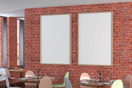Cafe or restaurant interior with blank two vertical posters on the red brick wall. Side view. 3d illustration.