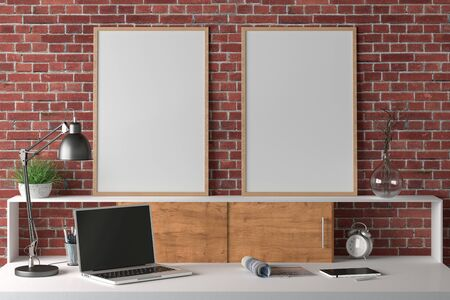 Workspace with two vertical posters mock up on the desk. Desk with drawers in interior of the studio or at home with red brick wall. 3d illustration. Stockfoto