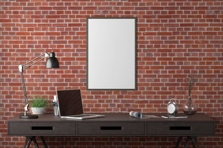 Workspace with vertical poster mock up on the red brick wall. Desk with drawers in interior of the studio or at home. 3d illustration.