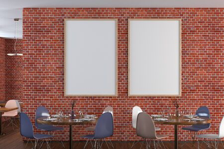 Cafe or restaurant interior with blank two vertical posters on the red brick wall. Front view. 3d illustration. Stockfoto
