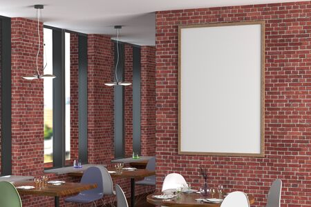 Cafe or restaurant interior with blank vertical poster on the red brick wall. Side view. 3d illustration.