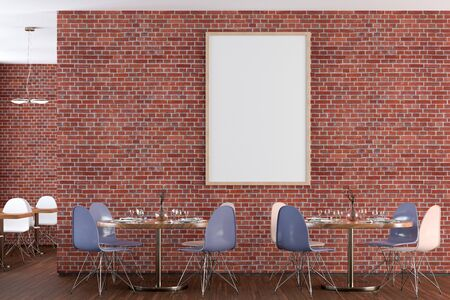 Cafe or restaurant interior with blank vertical poster on the red brick wall. Front view. 3d illustration.