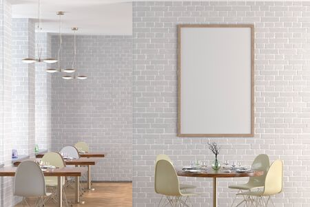 Cafe or restaurant interior with blank vertical poster on the white brick wall. Front view. 3d illustration.