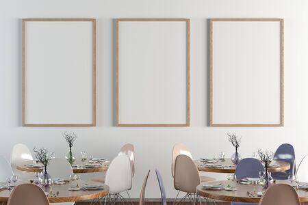 Cafe or restaurant interior with blank three vertical posters on the white wall. Front view.  3d illustration. Stockfoto