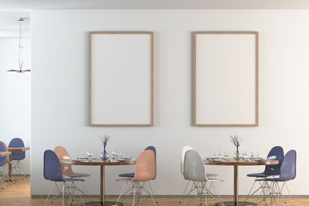 Cafe or restaurant interior with blank two vertical posters on the white wall. Front view. 3d illustration.