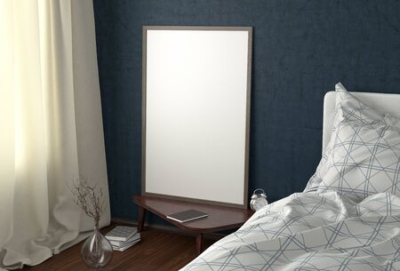 Vertical poster mock up on the night table in bedroom with blue wall. 3d illustration