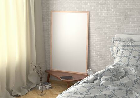 Vertical poster mock up on the night table in bedroom with white brick wall. 3d illustration