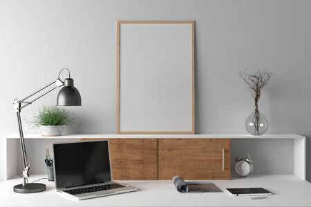 Workspace with vertical poster mock up on the desk. Desk with drawers in interior of the studio or at home with white wall. 3d illustration. Stockfoto