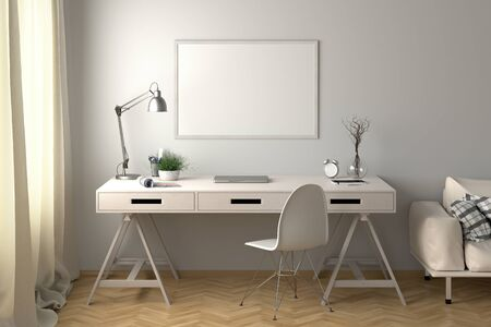 Workspace with horizontal poster mock up on the white wall. Desk with drawers in interior of the studio or at home. 3d illustration. Stockfoto