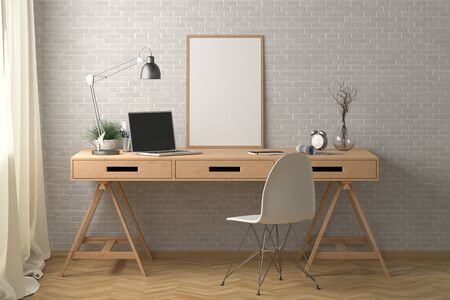 Workspace with vertical poster mock up on the desk. Desk with drawers in interior of the studio or at home with white brick wall. 3d illustration. Stockfoto