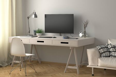 Desk with computer monitor. Workplace in the studio or at home with white wall. 3d illustration