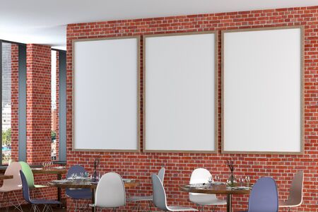 Cafe or restaurant interior with blank three vertical posters on the red brick wall. Side view.  3d illustration. Stockfoto