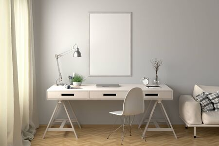 Workspace with vertical poster mock up on the white wall. Desk with drawers in interior of the studio or at home. 3d illustration.