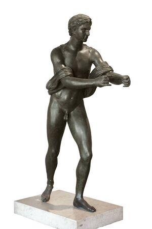 Apollo as an Archer (Apollo Saettante). Roman fronze statue from Pompeii (Pompei), Italy. Isolated Stockfoto