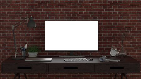 Bright computer monitor at night in the studio or at home workplace. 3d illustration Stockfoto