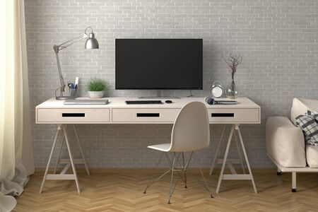 Desk with computer monitor. Workplace in the studio or at home with white brick wall. 3d illustration