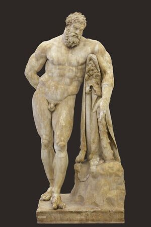 Statue of Heracles, Farnese Hercules. Roman marble statue, copy of original by Lysippos. Isolated