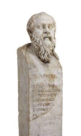 """Socrate. Erma in marmo del filosofo greco. L'iscrizione: """"Non sono per la prima volta ma sempre un uomo che non segue altro che la ragione che a ben guardare sembra essere la migliore"""". Archivio Fotografico"""