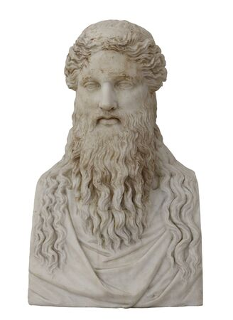 Marble head of Hermes. Isolated