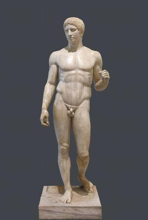 The Doryphoros statue. Roman marble copy of classic greek contrapposto statue