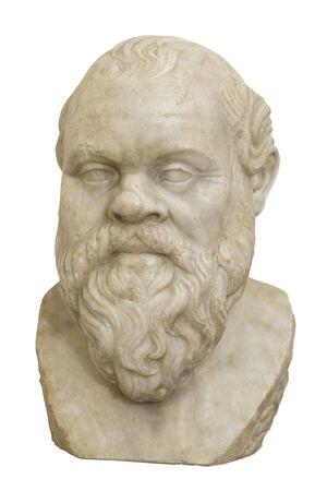 Socrates. Marble head of the greek philosopher. Isolated Stockfoto