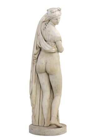 Statue de Vénus Callipyge ou Aphrodite Kallipygos ou Vénus callipygienne (Vénus des belles fesses. Isolé