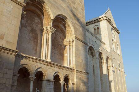 Decoration of bell tower of Trani Cathedral (Cattedrale di San Nicola Pellegrino). Trani, Puglia (Apulia), Italy