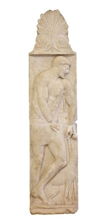 Marble relief tombstone stele so-called Stele Borgia with man and dog. 스톡 콘텐츠