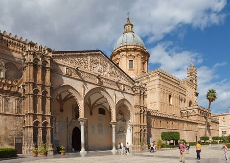 South portico of cathedral of Palermo. Palermo, Sicily, Italy. Stock Photo