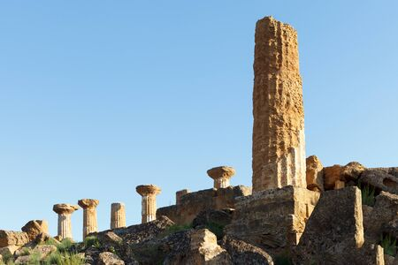 Column of temple of Heracles (Hercules) in valley of the Temples (Valle dei Templi) in Agrigento (Akragas). Sicily, Italy