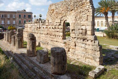 Temple of Apollo in Siracusa. Sicily, Italy Foto de archivo