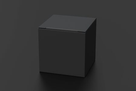 Blank black cube gift box with closed hinged flap lid on black background.