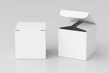 Blank white cube gift box with open and closed hinged flap lid on white background. Stock fotó