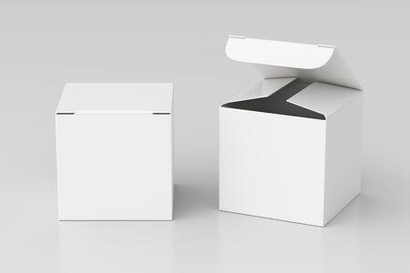 Puste pudełko upominkowe biały sześcian z otwartą i zamkniętą pokrywą na zawiasach na białym tle. Zdjęcie Seryjne