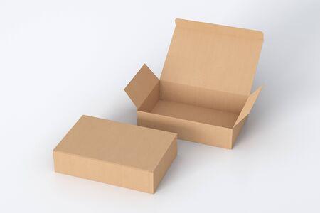 Puste kartonowe szerokie płaskie pudełko z otwartą i zamkniętą klapą na zawiasach na białym tle.