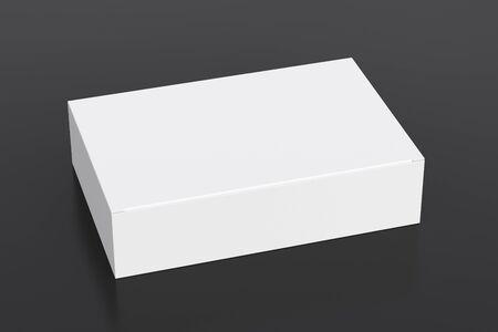 Blank white wide flat box with closed hinged flap lid on black background. Zdjęcie Seryjne
