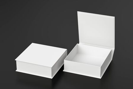 Blank white flat square gift box with open and closed hinged flap lid on black background.
