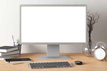 Espacio de trabajo con pantalla blanca de monitor de computadora en blanco simulacro en el escritorio de madera cerca de la pared blanca. monitor; pantalla; computadora; Bosquejo; Foto de archivo