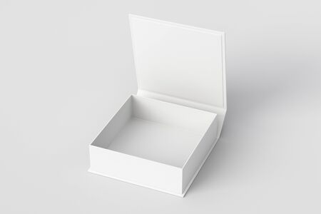 Blank white flat square gift box with opened hinged flap lid on white background. 3d illustration